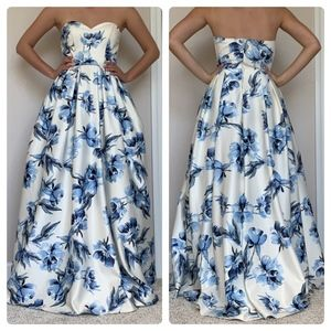 strapless white and blue gown
